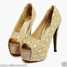 New Womens Platform High Heel Opened Peep Toe Stiletto Sandals Shoes Lace Floral