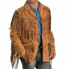 Men's Brown Traditional Western Leather Jacket coat With Fringe Bone and Beads