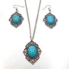 2016 Tibet Turquoise Round Pendant Women's Chain Necklace Earrings Gift