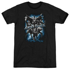 JUSTICE LEAGUE JUSTICE STORM Licensed Men's Ringer Graphic Tee Shirt SM-3XL