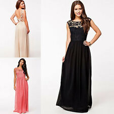 Women's Lace Long Maxi Evening Party Cocktail Bridesmaid Prom Ball Gown Dress