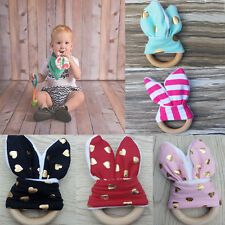 Safety Wooden Natural Baby  Teether Ring Cute Teething Chewie Bunny Sensory Toy