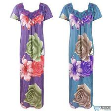 NEW LADIES 100% COTTON FLORAL NIGHTIE WOMENS LONG NIGHTDRESS LOUNGER 8-16