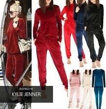 WOMENS NEW 2 PIECE VELVET VELOUR JOGGERS CUFFED SLEEVES BOTTOMS LOUNGE TRACKSUIT