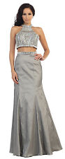 Long Homecoming Dresses Two Piece Set Halter Taffeta Rhinestone Prom Formal Gown