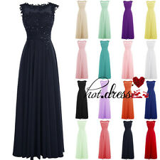 STOCK Lace Appliques Formal Prom Party Ball Gown Bridesmaid Evening Dresses 6-18