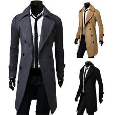 NEW Coat Double Breasted Peacoat Long Men Jacket Winter Dress Top