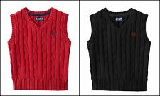 Chaps Boy 18M 4 5 6 7 8 10/12 14/16 18/20 Cable Knit Sweater Vest Red Black NWT