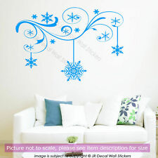 Floral Branch Vinyl Wall Art Sticker Winter Snowflake Decal Christmas Shop Decor