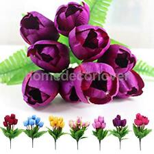 Artificial Fake Floral 9-head Faux Silk Tulip Flower Orchid Home Decor