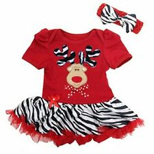 Baby Kid Girl Summer Christmas Reindeer Fancy Costume Dress Outfit+Headband Set