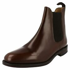 Mens Loake dark brown leather pull-on boot 290T F fit