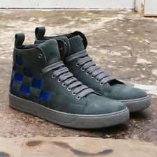 NEW Lanvin Grey Nubuck Leather High Top Trainers GENUINE RRP: £505 BNIB