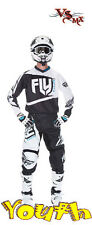 "Fly 2017 F-16 Youth Jersey (S-XL) & Pant (18""-28"") Motocross Kit (BLACK/WHITE)"