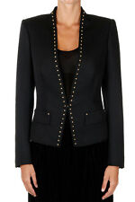 ROBERTO CAVALLI New woman Black Virgin Wool Studded Jacket Blazer Made in Italy