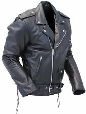 MENS CLASSIC VTG BRANDO REAL LEATHER MOTORCYCLE BIKER JACKET (ALL SIZES)