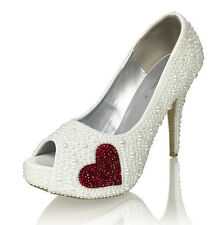 Marc Defang Classic Pearl Bridal Pumps with Crystal Heart Accent