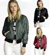 Women Lady Casual Bomber Jacket Coat Top Vintage Zip Up Biker Outwear Size 8-18