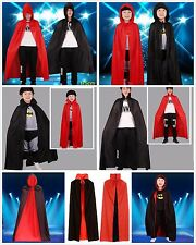 Kids Adults Double-faced Black Red Vampire Reversible Cape Cloak Halloween