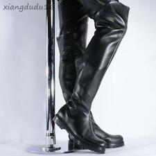 Fashion Men' s Faux PU Leather Riding Motorcycle Knee High Casual Punk Boots new