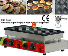 50pcs Commercial Mini Pancakes Poffertjes Dorayaki Iron Maker Batter Dispenser