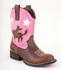 Roper Kids Girls Western Lighted Brown Faux Leather Cowboy Cutout Comfort Boots