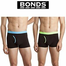Mens Bonds Guyfront Trunk M336 Fluro Blue Green Classic Fly Black Underwear XXL