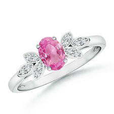 Natural Diamond Oval Pink Sapphire Engagement Ring 14k White Yellow Gold Size 6