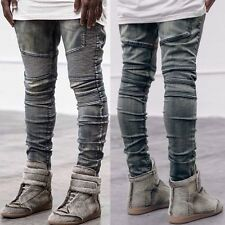 Men Hip Hop Rap Straight Leg Athletic Fit Skinny Jeans Slim Casual Denim Pants