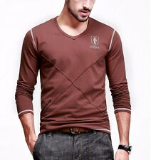 Fitted Mens V-neck Long sleeve Fashion Contract Color Simple T-shirts M-XXXL
