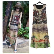 Women Sleeveless Silk Chiffon Long Maxi Dress Summer Casual Beach Sundress