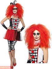 Ladies Twisted Harlequin Costume Adult Jester Halloween Fancy Dress Circus Clown
