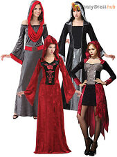 Ladies Gothic Vampire Halloween Fancy Dress Costume Long Womens Size 10 12 14