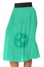Women Chiffon Skirt Below Knee Length Skirt 2 Inch Belt Belly Dance Skirt S~3XL