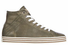 HOGAN MEN'S SHOES HIGH TOP LEATHER TRAINERS SNEAKERS NEW REBEL R141 VINTAGE  057