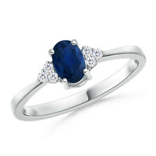 Blue Sapphire Solitaire Ring Diamond Accents 14k White Gold Women Size 7