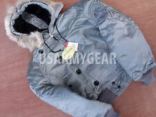 NEW US Made Corint Cold Weather N-2B Parka Military Air Force Jacket Coat Silver