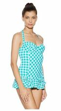 NWT $173 JUICY COUTURE GINGHAM UNDERWIRE SWIMDRESS SWIMSUIT, SMALL DRAGONFLY