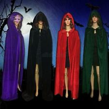 Gothic Hooded Halloween Costume Velvet Vampire Witchcraft Cape Cloak Wicca Robe