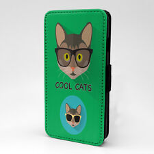 Green Cool Cat Print Design Flip Case Cover For Sony Xperia - P98