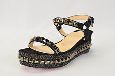 Christian Louboutin Cataclou 60 embellished suede and leather wedge sandals