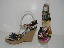 Beverly Feldman Sandals Shoes Sz 6 Natali Wedge Espadrille w/Floral Fabric NWOB