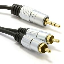 Pro Audio Metal 3.5mm Stereo Jack to 2 RCA Phono Plugs Cable Gold 3m. Shipping I