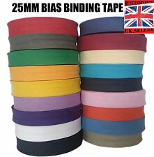 25MM 1 INCH BIAS BINDING TAPE COTTON CARFT TRIM FULL 25MTR ROLLS VARIOUS COLOURS