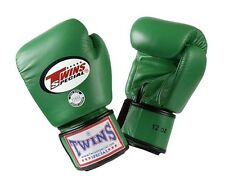 Twins Special Muay Thai Boxing Gloves Premium Leather w/ Velcro Green BGVL3