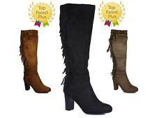 Women New Mid Calf Ladies Tassels Suede Boots Winter Zip Up High Heel Shoes size