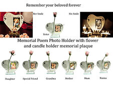 Memorial Poem Photo Holder with flower and candle holder memorial plaque