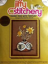 Indian Vase with Thistles ~ 1976 Vintage Jiffy Stitchery Needlepoint Embroidery