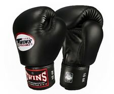 Twins Special Muay Thai Boxing Gloves Premium Leather w/ Velcro Black BGVL3