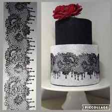 EDIBLE READY MADE 2 LARGE PANELS LACES 4 Anniversary cake BabyShower Birthday